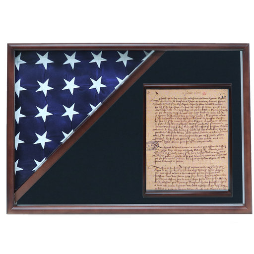 View a Larger Image of Memorial Flag and Doc Case, Oak, Walnut, Force Blue background