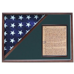 Memorial Flag and Doc Case, Walnut, Army Green background
