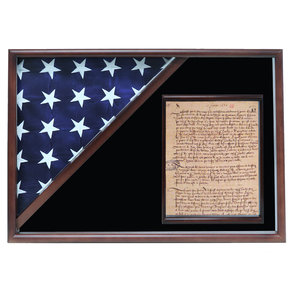 Memorial Flag and Doc Case, Walnut, Black Velvet background