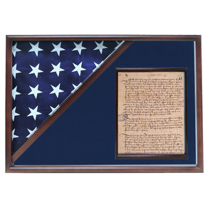 Memorial Flag and Doc Case, Walnut, Blue Velvet background