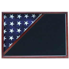 Memorial Flag Case, Cherry, Air Force Blue background
