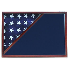 Memorial Flag Case, Cherry, Blue Velvet background