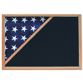 Memorial Flag Case, Oak, Air Force Blue background