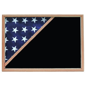 Memorial Flag Case, Oak, Black Velvet background