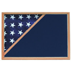 Memorial Flag Case, Oak, Blue Velvet background