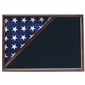 Memorial Flag Case, Walnut, Air Force Blue background