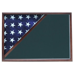 Memorial Flag Case, Walnut, Army Green background
