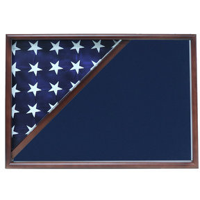Memorial Flag Case, Walnut, Blue Velvet background