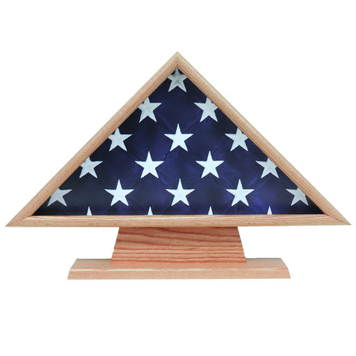 View a Larger Image of Memorial Flag Case, with Pedestal Oak