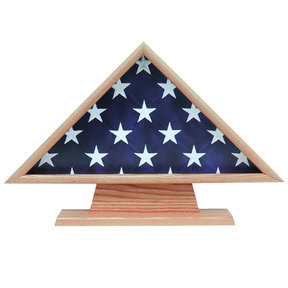 Memorial Flag Case, with Pedestal Oak