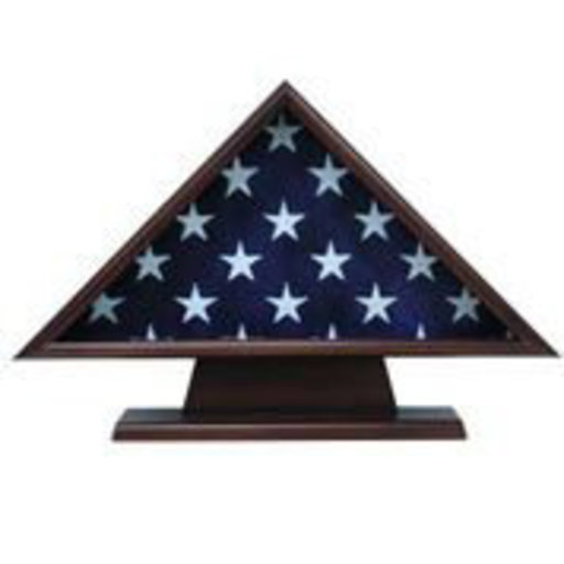 View a Larger Image of Memorial Flag Case, with Pedestal Walnut