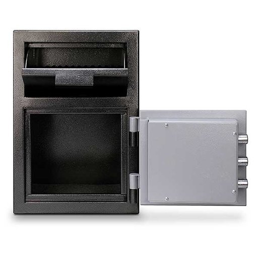 View a Larger Image of Mesa Depository Safe with Combination Lock, 0.8 cu. ft., Black and Gray, Model MFL2014C