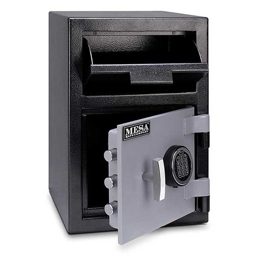 View a Larger Image of Mesa Depository Safe with Electronic Lock, 0.8 cu. ft., Black and Gray, Model MFL2014E