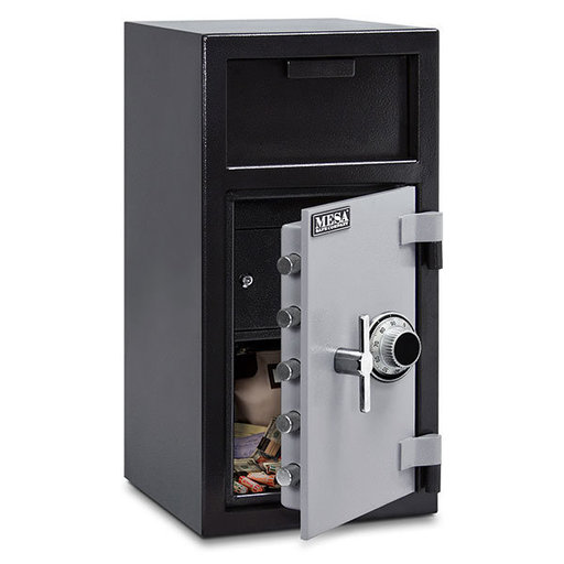 View a Larger Image of Mesa Depository Safe with Interior Locker and Combination Lock, 1.3 cu. ft., Black and Gray, Model MFL2714C-ILK
