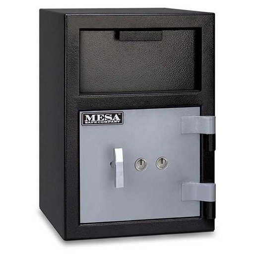 View a Larger Image of Mesa Depository Safe with Key Lock, 0.8 cu. ft., Black and Gray, Model MFL2014K
