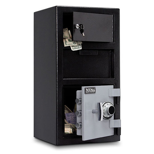 View a Larger Image of Mesa Depository Safe with Outer Locker and Combination Lock, 1.5 cu. ft., Black and Gray, Model MFL2014C-OLK