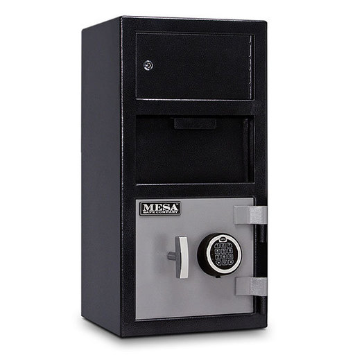 View a Larger Image of Mesa Depository Safe with Outer Locker and Electronic Lock, 1.5 cu. ft., Black and Gray, Model MFL2014E-OLK