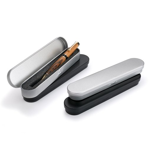 View a Larger Image of Metal Pen Box - Black and Gray 4-pc