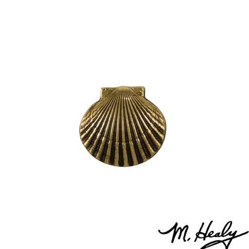 View a Larger Image of Bay Scallop Door Bell Ringer, Polished Brass and Brown Patina