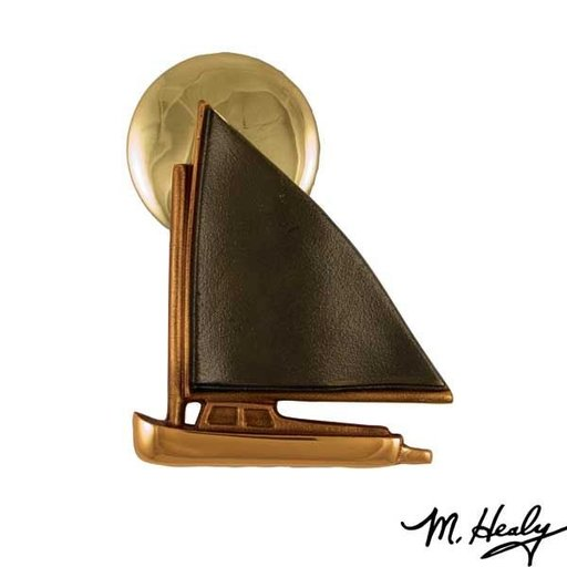 View a Larger Image of Catboat at Sunset Door Knocker, Polished Brass and Brown Patina