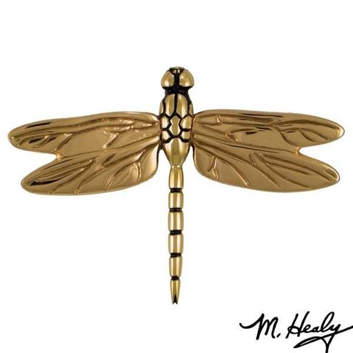 View a Larger Image of Dragonfly in Flight Door Knocker, Polished Brass and Bronze