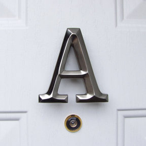 Letter A Monogram Door Knocker, Brushed Nickel