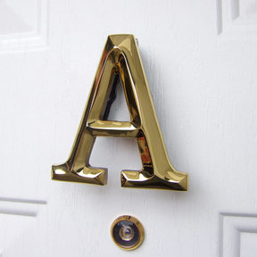 Letter A Monogram Door Knocker, Polished Brass