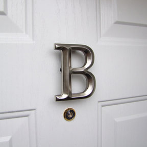 Letter B Monogram Door Knocker , Brushed Nickel