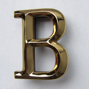 Letter B Monogram Door Knocker, Polished Brass