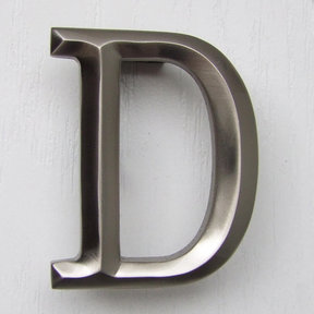 Letter D Monogram Door Knocker, Brushed Nickel