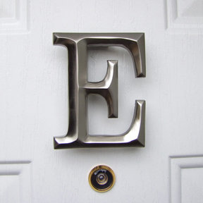 Letter E Monogram Door Knocker, Brushed Nickel