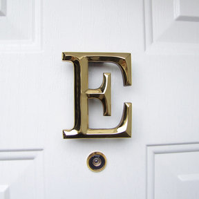 Letter E Monogram Door Knocker, Polished Brass