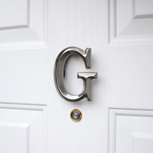 View a Larger Image of Letter G Monogram Door Knocker, Brushed Nickel
