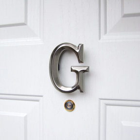 Letter G Monogram Door Knocker, Brushed Nickel