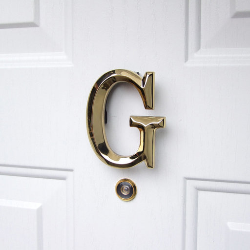 View a Larger Image of Letter G Monogram Door Knocker, Polished Brass
