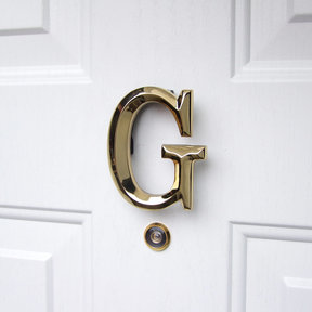 Letter G Monogram Door Knocker, Polished Brass