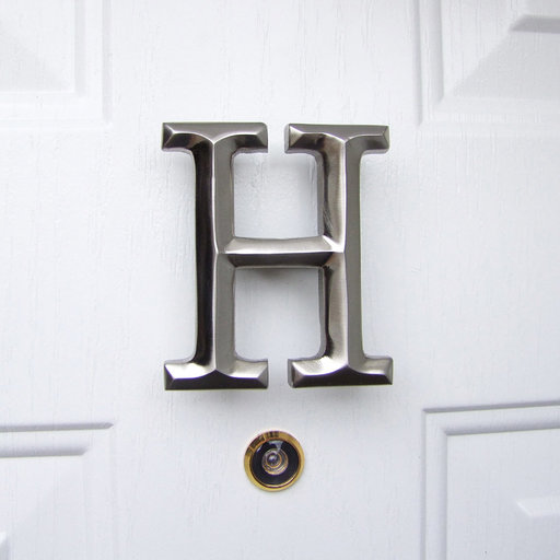 View a Larger Image of Letter H Monogram Door Knocker, Brushed Nickel