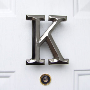Letter K Monogram Door Knocker, Brushed Nickel