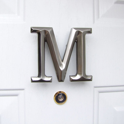View a Larger Image of Letter M Monogram Door Knocker, Brushed Nickel