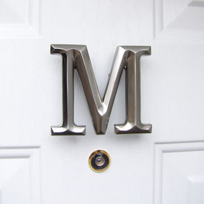 Letter M Monogram Door Knocker, Brushed Nickel