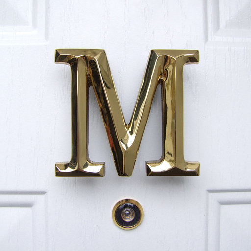 View a Larger Image of Letter M Monogram Door Knocker, Polished Brass