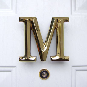 Letter M Monogram Door Knocker, Polished Brass