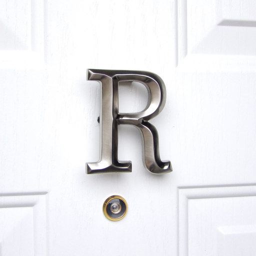 View a Larger Image of Letter R Monogram Door Knocker, Brushed Nickel