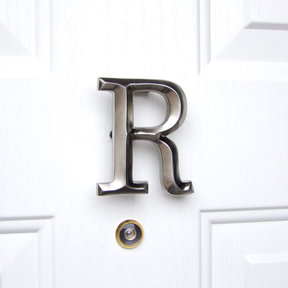 Letter R Monogram Door Knocker, Brushed Nickel