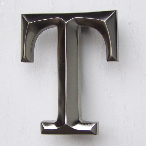 View a Larger Image of Letter T Monogram Door Knocker, Brushed Nickel