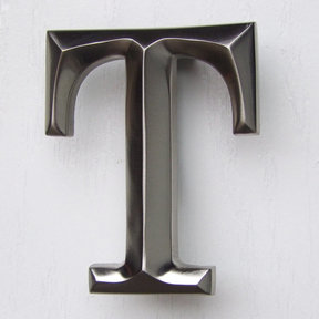 Letter T Monogram Door Knocker, Brushed Nickel