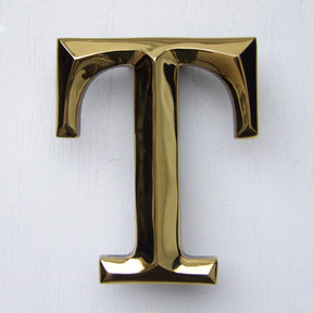 Letter T Monogram Door Knocker, Polished Brass