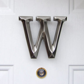 Letter W Monogram Door Knocker, Brushed Nickel