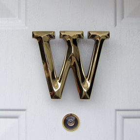 Letter W Monogram Door Knocker, Polished Brass