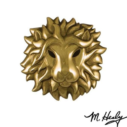 View a Larger Image of Regal Lion Door Knocker, Polished and Highlighted Brass